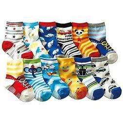 12 Pairs Baby Boys Socks With Grips 12-24 Months Toddler Inf