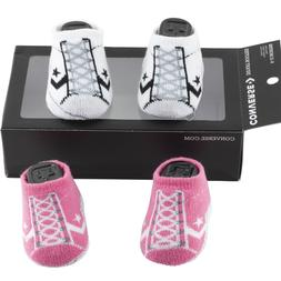 2 Converse Baby Infant Girls Booties Socks Crib Shoes 6-12 Months Pink White