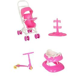4PCS Doll Accessories Set Baby Stroller Walker Scooter Doll
