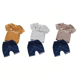 Baby Boy Summer Fashion Clothing 2 Pieces Set Cotton Pullove