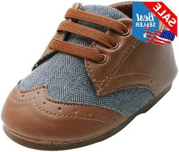 Kuner Baby Boys Brown Pu Leather Canvas Rubber Sole Outdoor
