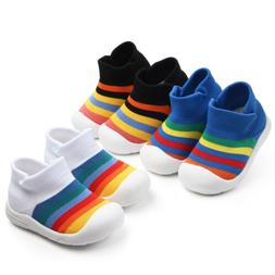 Baby Boys Girls Rainbow Anti-Slip Shoes Soft Soled Newborn