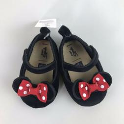 Baby Gap Girl Disney Minnie Mouse Red Bow Strap Black Shoes