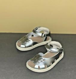 Baby Girl Shoes Camper Twins Open Toe Silver Leather Sandals
