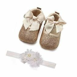 Lidiano Baby Girls Bowknot Sequins Bling Anti-Slip Mary Jane