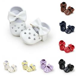 Baby Shoes Beautiful Heart Bow-knot Pattern Leather Soft Sol