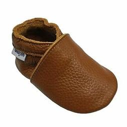 Mejale Baby Soft Soled Leather Moccasins Anti-Slip Infant To