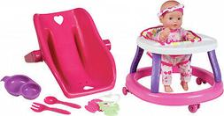 Deluxe Baby Doll Set 14 Inch Walker Moving Wheels Rattle and