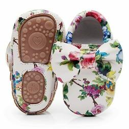 Floral Printing Hard Sole Toddler Moccasins First Walker Bow