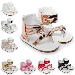 Infant Baby Girl Beach Leather Rubber Sole Sandals Newborn F
