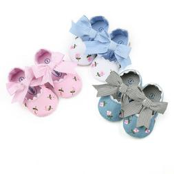 Infant Baby Girl Embroidery Flower Bowknot Toddler First Wal