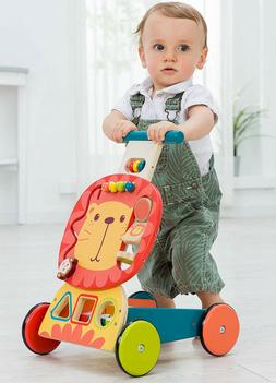 Infant Wooden Learn to Walker Stand Toys Baby Roll Cart Push
