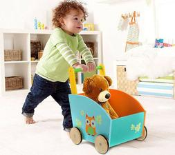 Infant Wooden Learning Walker Stand Toys Baby Roll Cart Push
