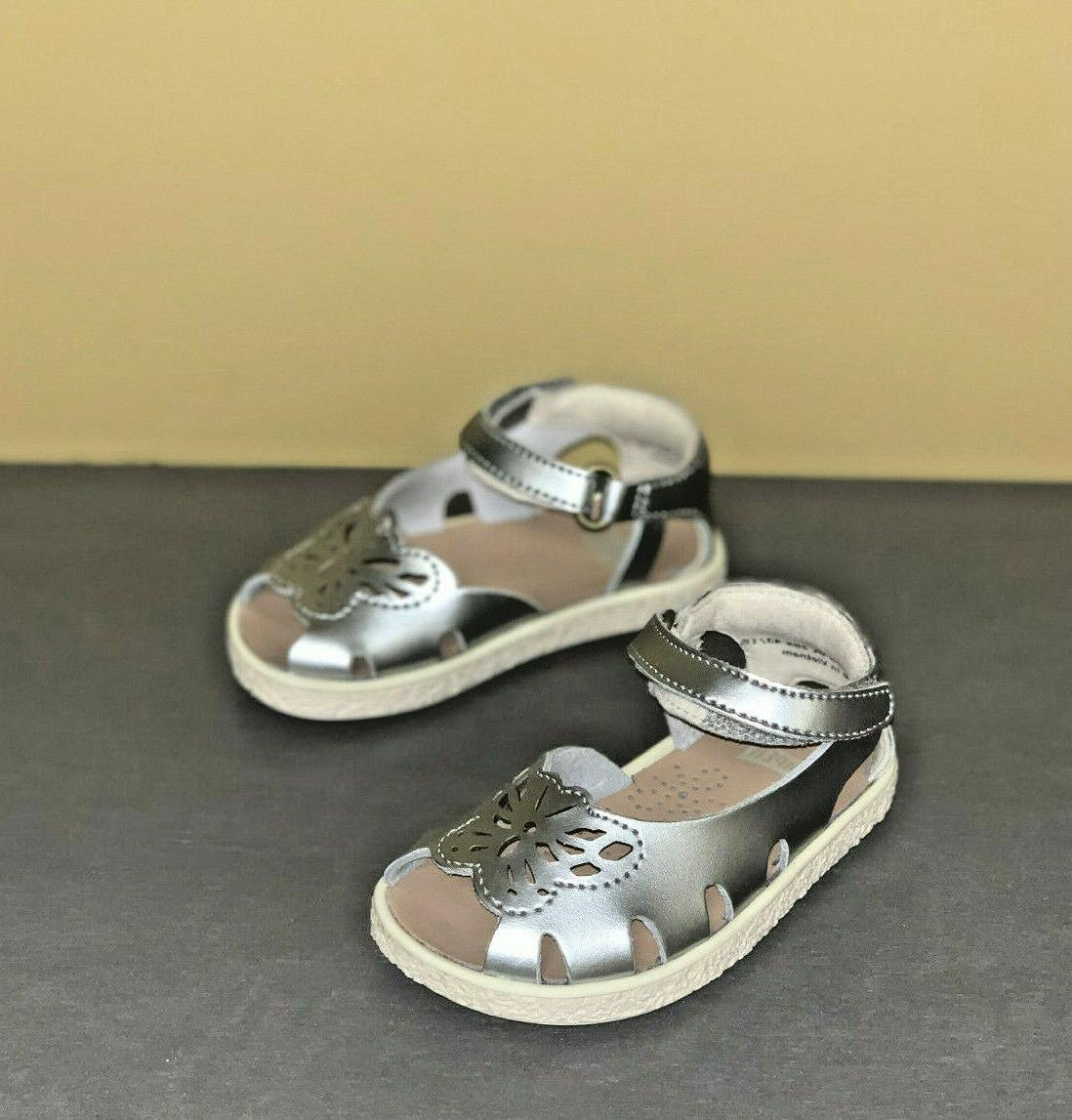 baby girl shoes twins open toe silver