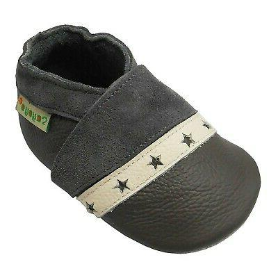 baby soft sole leather infant crib shoes