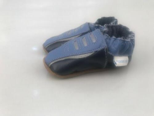 blue navy silver leather infant baby boy