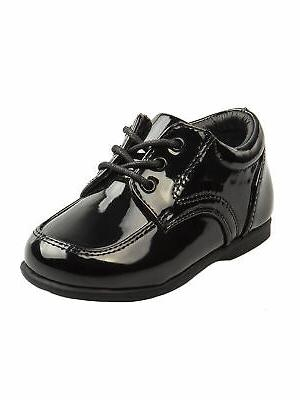 boys black patent leather double buckle first