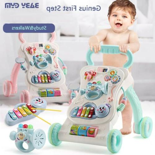 Kid Baby Walker Push Activity First Toy Trolley Music Green