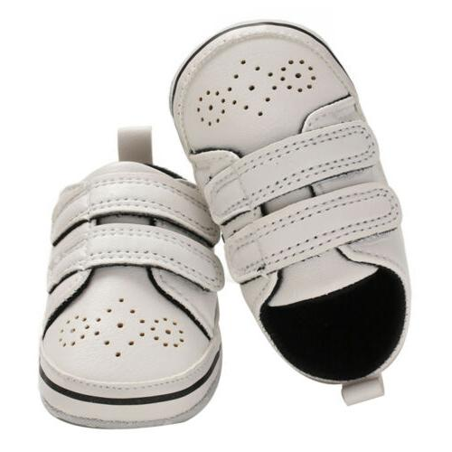 Newborn Baby Boy Crib Shoes Leather Infant Pre Sneakers