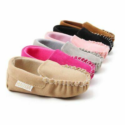 0-18M Newborn Baby Girls Crib Loafers Peas Shoes Soft Pram T