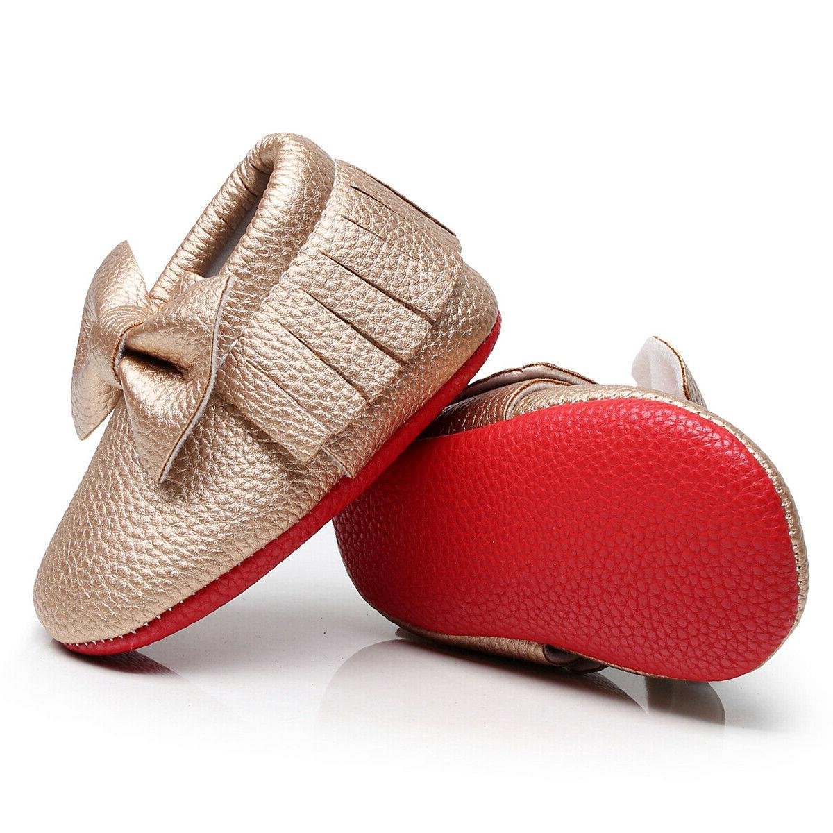 Red soled bow baby walkers shoes
