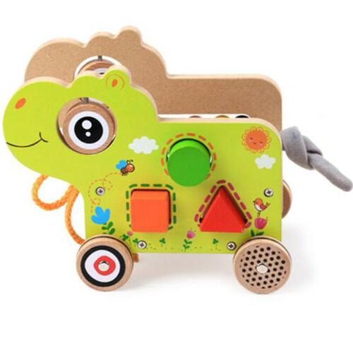Children Wooden Baby Walker Animal Pattern Push Pull Learnin