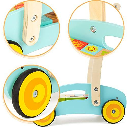 cossy Baby Learning Walker Toddler for 1 Year Old Theme Blocks Roll Cart Toy