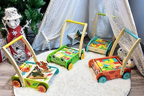 cossy Wooden Baby Walker 1 Year Old Forest Theme Blocks Cart Push