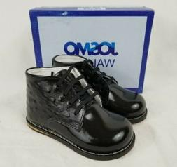 NEW Black Patent Ostrich Josmo Baby Unisex Walking Shoes Fir
