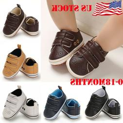 New Fashion Baby Boys Girls Sneakers Leather Sports Crib Sof