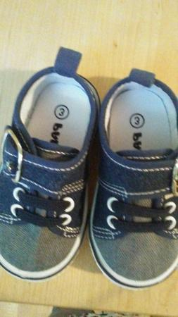 New PAPOS NAVY CANVAS BUCKLE SNEAKERS BABY BOYS SIZE 3 walke