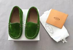 NEW TOD'S BABY BOYS GREEN SUEDE PRE WALKER MOCCASINS / SHOES