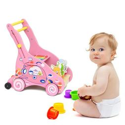 Wooden Baby Learning Walker Assistant Toddler Stroller Push-