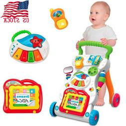 """18"""" Baby Walker With Wheels Boy Girl Sit To Stand Infant Tod"""