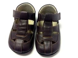 Smaller by See Kai Run baby boy brown leather soft sole sand
