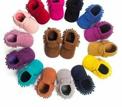 Soft Soled Non-slip Footwear For Toddler Suede Leather Fring
