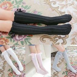 Toddler Baby Girls Knee High Long Socks Bowknot Cotton Casua
