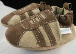 Robeez Trainer Tan Suede Leather Toddler Baby Boys Shoes Fir