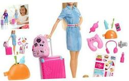 ​ Travel Doll, Blonde, with Puppy, Opening Suitcase, Stick
