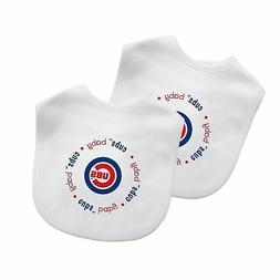 Baby Fanatic White Color Bibs, Chicago Cubs, 2-Count MLB Inf