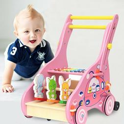 Wooden Knocking Piano Baby Learning Walker Toddler Toy Strol