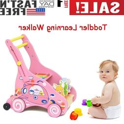Wooden Multifunction Learning Walker Toddler Kids Push-pull