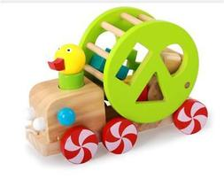 Wooden Pull And Push Along Toy Multicolor Geometric Shape Ma