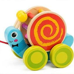 COSSY Wooden Pull Toys for 1 Year Old, Snail Push Toy for To